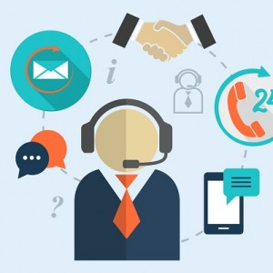Business customer care service concept flat icons set of contact us support help desk phone call and website click for infographics design web elements  illustration