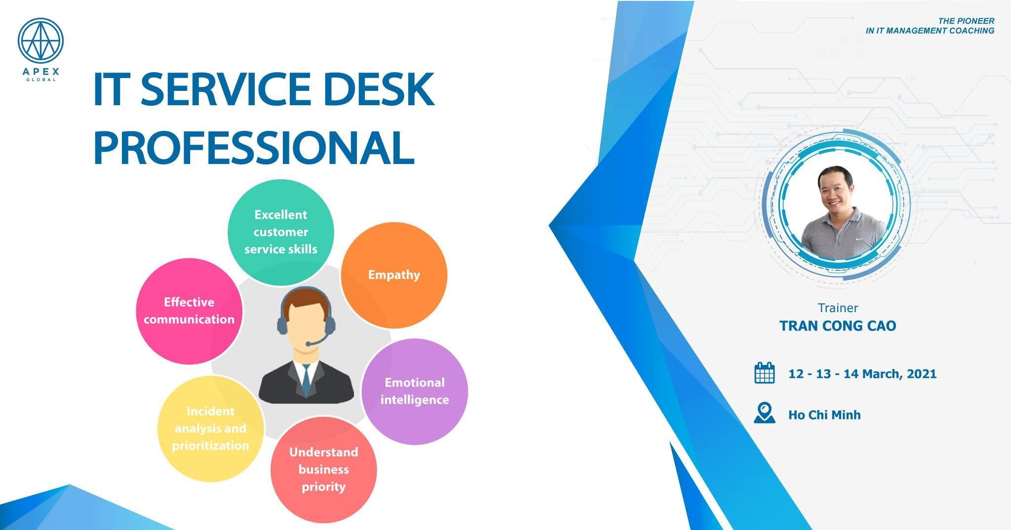 Chiêu sinh khoá đào tạo IT Service Desk Professional tháng 03/2021– Tp.HCM